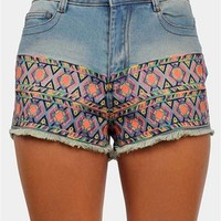 Embroidery Denim Shorts - Blue