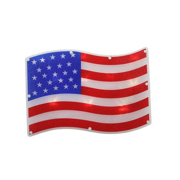 "13.25"" LED Lighted Patriotic 4th of July American Flag Window Silhouette Decoration  Battery Operated"