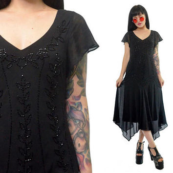 vintage 90s does 20s flapper dress beaded sheer fringed hem ultra draped gothic maxi dress witchy vamp romantic victorian gauzy small