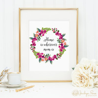 Home is wherever mom is - printable floral wreath decor, perfect gift from daughter to mom (Printable wall art decor, digital, JPG)