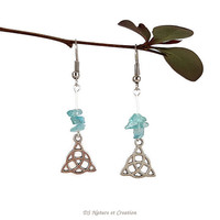 Celtic trinity jewelry, blue apatite earrings, celtic triquetra knot earrings, gemstone jewelry apatite, silver dangle earring gemstone tryn