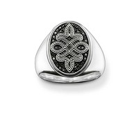 THOMAS SABO Black Cubic Zirconia Rebel Love Knot Signet Ring TR2007-051-11-F