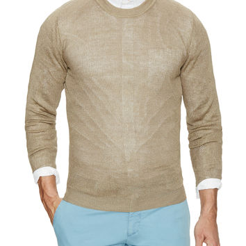Luca Roda Men's Long Sleeve Sweater - Cream/Tan -