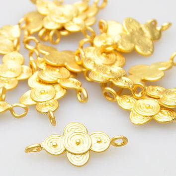 5 Pieces Gold Plated Jewelry Connectors, Matte Gold Jewelry, Jewelry Making Supply