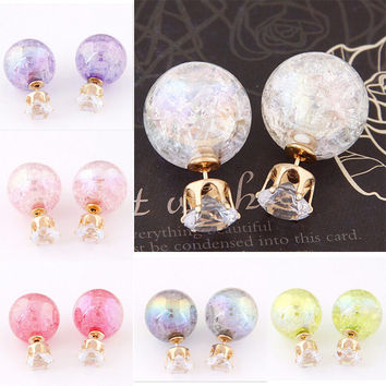 Women Candy Color Double Side Round Pearl Earrings Crystal Ball Ear Stud
