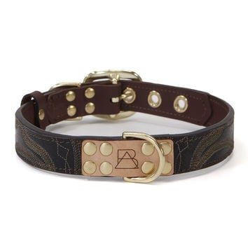 Mahogany Brown Dog Collar with Black Leather + Tan/Light Brown Stitching