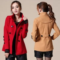 Coat Winter Korean Plus Size Slim Double Breasted Jacket [9126622668]