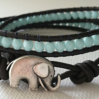 Elephant Good Luck Charm Bracelet, Turquois Wrap Bracelet, Chan Luu Style, Mothers Day