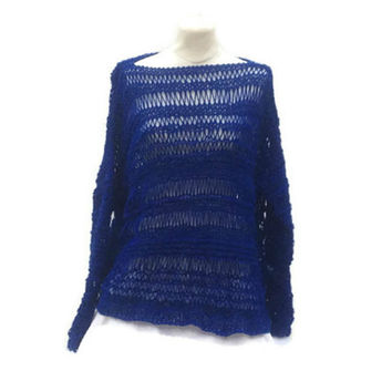 Blue Baggy Sweater Oversized Handmade Long Sleeves Loose Pullover