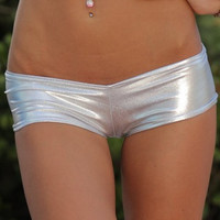 Metallic Basic Pole Dancewear Booty Shorts