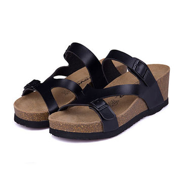 Fashion Women Sandals Wedges Cork High Heels Shoes Gladiator Beach Shoes Summer Slippers Zapatos Mujer Sandalias Plus Size35-40