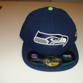 New Era Hat Cap NFL Football Seattle Seahawks 7 1/2 59fifty Sideline Fitted Blue