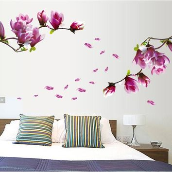 High Quality One Piece Luxury peach Flower 150*55cm Bed Room Wall Vinyl Decal Art DIY Home Decor Wall Sticker 7105