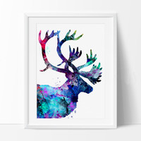 Reindeer Painting, Reindeer Art Print, Watercolor Print, Reindeer Watercolor Painting, Large Deer Art, Wall Art, Deer Art Print Poster (201)