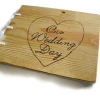 "Wedding Guest Book - Wooden Rustic Book 10""x12""  -Custom Cover Work"