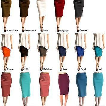 Straight Ponte Knit Pencil Stretch Bodycon Slim Knee Length Midi Skirt