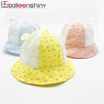 BalleenShiny Baby Panda Bucket Hat Child Kids Unisex Cute Cartoon Ear Outdoor Sun Hat Summer Mesh Breathable Cotton Cap Hot Sale