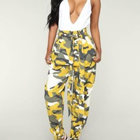 New Yellow Camouflage Belt Pockets High Waisted Overalls Casual Long Pant