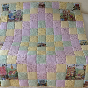 Quilts In My Garden, Hand Quilted, Throw, Handmade Quilt, Lap Quilt 50 x 58 inches Free Shipping Canada, US