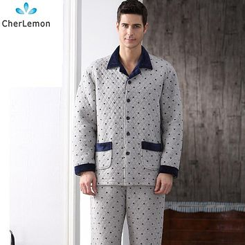 Cotton Autumn Men Pajama Set Full Sleeve Winter Thick Pyjima Sleepwear Casual Polka Dot Warm Sleep Lounge Male Nightwear M-4XL