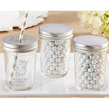Personalized Printed Glass Mason Jar - He Asked, She Said Yes (Set of 12)