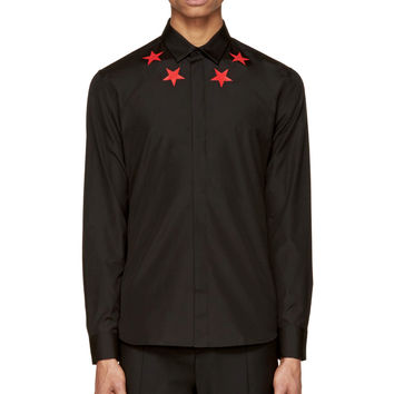 Givenchy Black And Red Star Printed Button-up Shirt