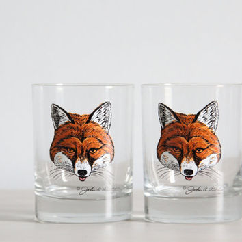 vintage collectible fox john ruthven drinking glasses
