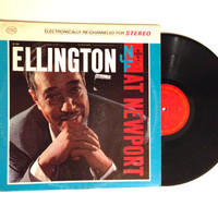 OCTOBER SALE Rare LP Album Duke Ellington and his Orchestra Ellington At Newport Vinyl Record Reissue Blues To Be There