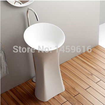 Bathroom Pedestal Washbasin Cloakroom Solid Surface Stone standing Vanity Washing Sink W9003