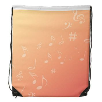 Peach Music Drawstring Backpack