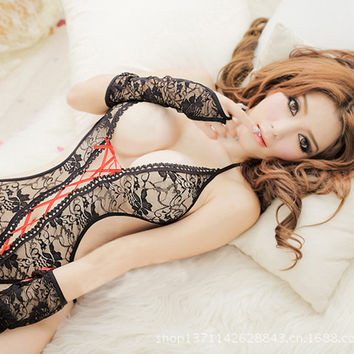 Women Lady Sheer Lace Open Bra Leotard Sleepwear Nightie Lingerie Bodysuit
