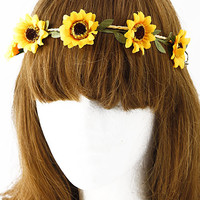 Mini Adorable Sunflower Tied Head Band