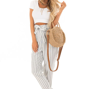Faded Navy Stripe Pants with Waist Tie and Pockets