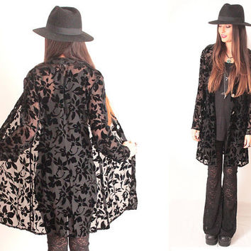 Vintage Black Devore Velvet Sheer Burnout Duster Drape Jacket Shirt