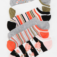 Dainty Floral No-Show Sock - Pack of 6