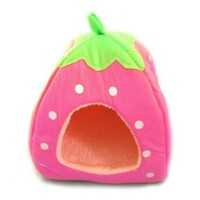 Pet-line Cute Soft Sponge Strawberry Pet Cat Dog House Bed Warm Cushion Basket (Pink, Small)