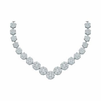 14kt White Gold Women's Round Diamond Cluster V-Shape Luxury Necklace 5.00 Cttw - FREE Shipping (US/CAN)