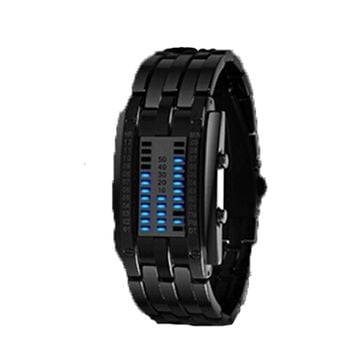 Deep Waterproof Creative Date Digital LED Luminous steel Men Women Bracelet Fashion Chic Watch Black Women