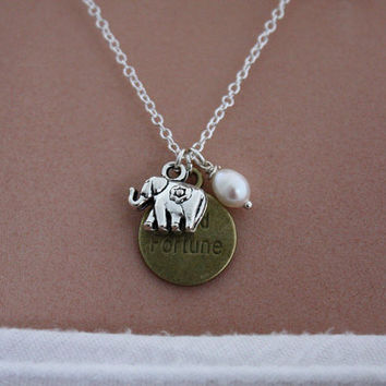Lucky Elephant Necklace Good Fortune Fresh Water by PenelopesPorch