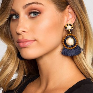 Americano Tassel Earrings - Navy