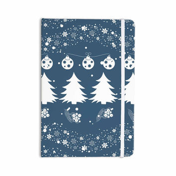 "Famenxt ""Merry Merry Christmas"" Blue White Holiday Illustration Everything Notebook"