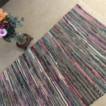 Rag Rug Mats, Pink Gray Colorful Hippie Rugs, Cotton Loomed Woven Chindi, Large Area Rug, Boho Chic Shabby, vegan rag rug. 6'x3'6""