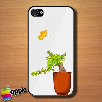 Japanese Butterfly and Bonsai Custom iPhone 4 or 4S Case Cover | Merchanstore - Accessories on ArtFire