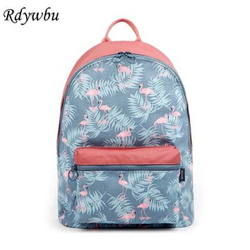 Rdywbu Korean 3D Flamingo Cartoon Printing Backpack Stitching Floral Casual Daily Travel Bag Teenagers School Bag Mochila H141