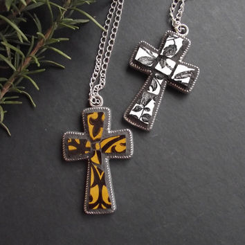 Vintage Broken China Mosaic Cross Pendant Necklace - Made to Order