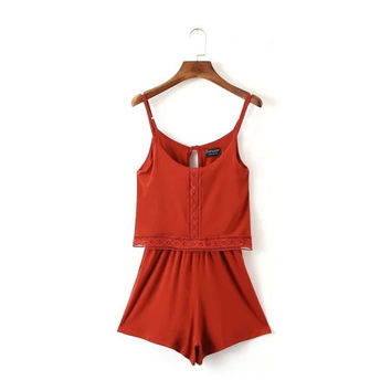 Lace Spaghetti Strap Sexy Shorts Casual Jumpsuit [4918010500]