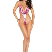 Extreme Hot Pink Print Micro Monokini One Piece G-String Thong Swimsuit