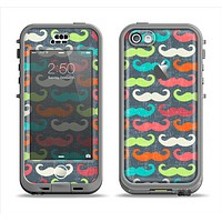 The Colorful Scratched Mustache Pattern Apple iPhone 5c LifeProof Nuud Case Skin Set