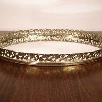 Vintage Mirror Vanity Tray with Filigree Frame