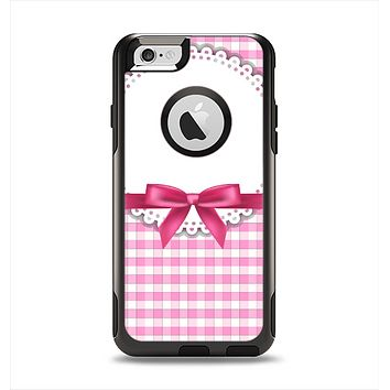 The Pink and White Plaid with Lace and Ribbon Apple iPhone 6 Otterbox Commuter Case Skin Set